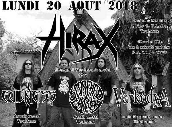 [toulouse - 20-08-2018] Hirax + Evilness + Varkodya + Scorched Earth