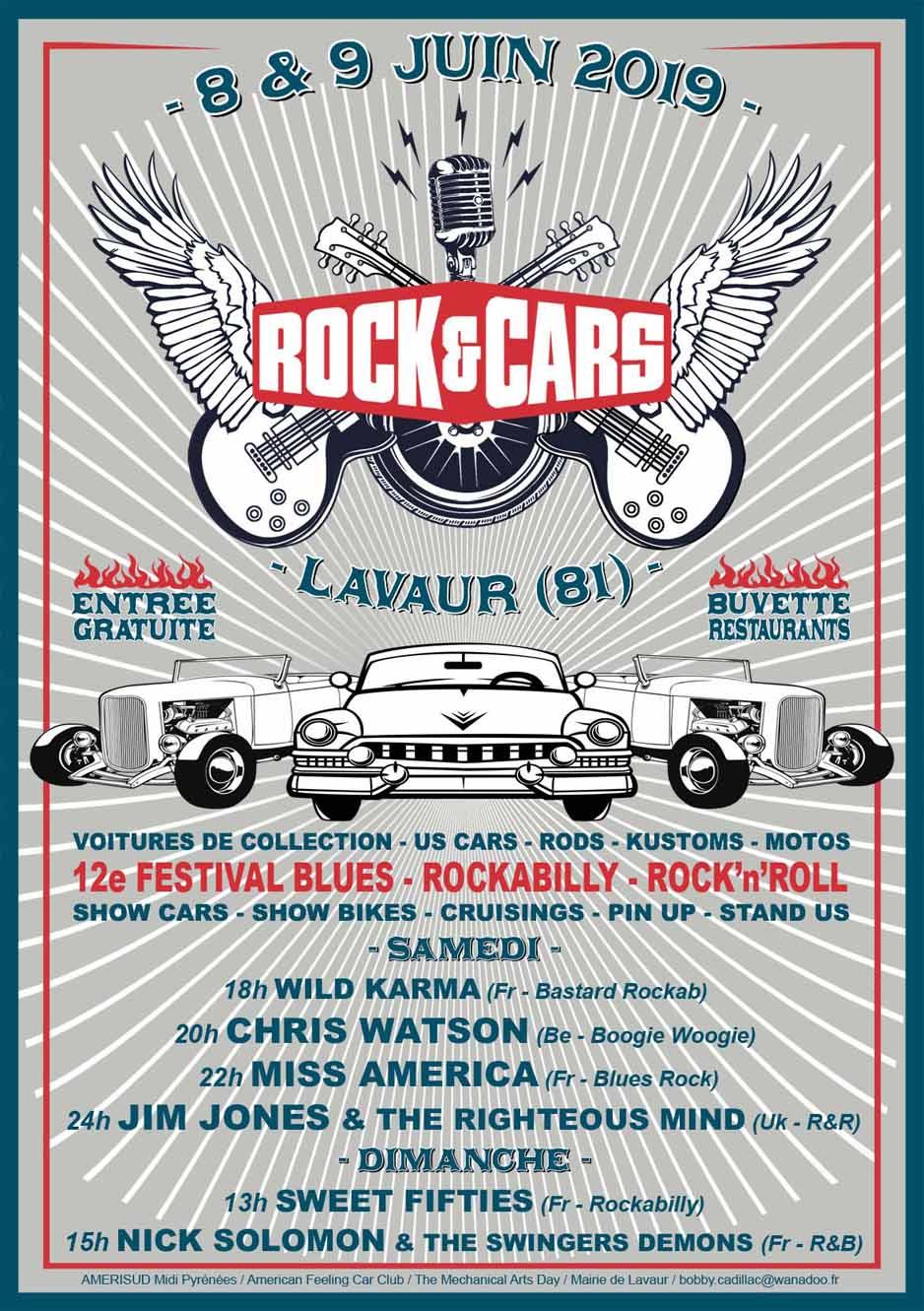 Festival Rock'and'cars à Lavaur (81) Les 8 Et 9 Juin 2019