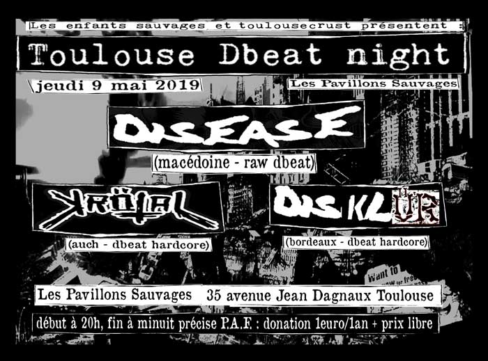 Concert Metal Punk Avec Disease (macédoine - Raw Dbeat) + DisklÜr (bordeaux - Dbeat Hardcore) + KrÖt