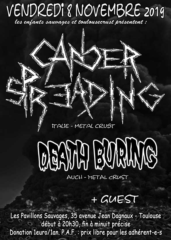 Concert Metal Punk Avec Cancer Spreading (italie - Metal Crust) + Death Buring (auch - Metal Crust)